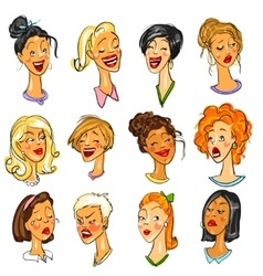 Female faces - set of Expressions vector