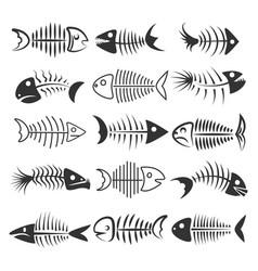 Fish bones silhouettes vector