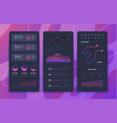 fitness app ui phone dashboards with charts vector image