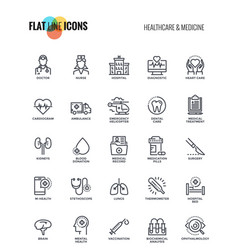 Flat line icons design-healthcare and medicine vector