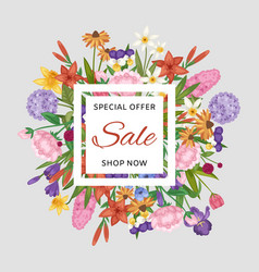 floral sale banner and garden flowers special vector image