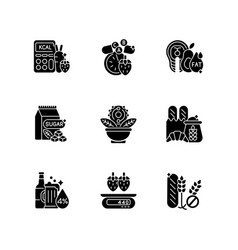 Foodstuff for nourishment black glyph icons set vector