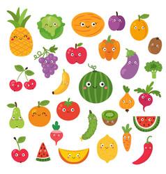 fruit set on white background for kids vector image