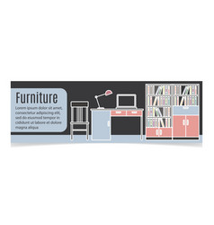 furniture horizontal banner with table vector image