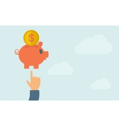 Hand pointing to piggy bank vector