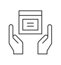 Hands holding parcel box icon protect your goods vector