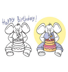 happy birthday elephant blows out candles on cake vector image