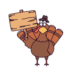 Happy thanksgiving day turkey and wooden sign vector