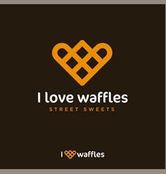 I love waffles logo like heart street sweets vector
