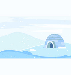 Igloo building for north people housing on nature vector