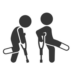 Injured man with crutches icon set vector