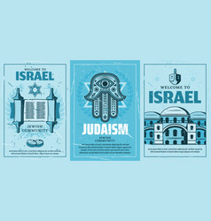 Israel and judaism retro posters holy icons signs vector