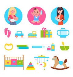 kid and breastfeeding toys set vector image