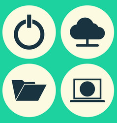 Laptop icons set collection of tree web dossier vector