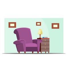 Living room furnishing flat vector