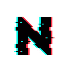 Logo letter n glitch distortion vector