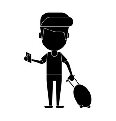 Man traveling passport dragging luggage pictogram vector