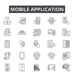 mobile application line icons signs set vector image