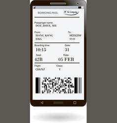 mobile phone with electronic boarding pass vector image