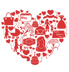 mothers day icons in heart shape vector image