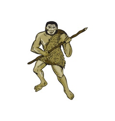 Neanderthal Man Holding Spear Etching vector