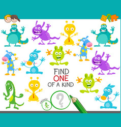 One a kind game with cartoon monsters vector
