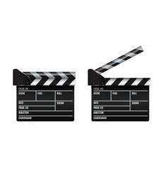 Opened and closed realistic cinema or film clapper vector