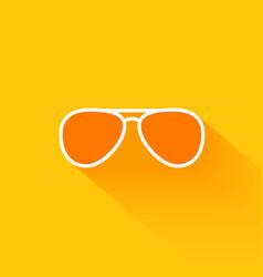 Orange summer sunglasses flat long shadow icon vector image