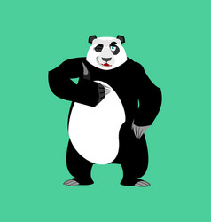 panda winking emoji chinese bear happy emotion vector image