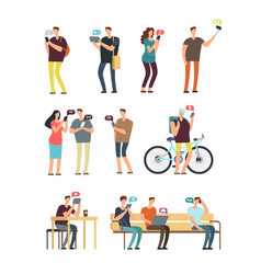 People using cellphone mobile internet and vector