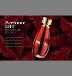perfume bottle template sweet red leaf design art vector image