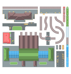 railway elements - set of modern objects vector image