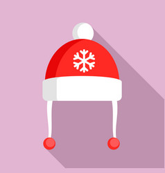 red winter hat icon flat style vector image