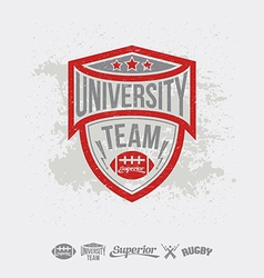 Rugby emblem university team and design elements vector image