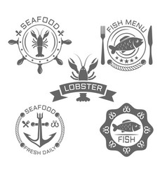 seafood vintage emblems or labels on white vector image