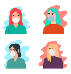 set a women with medical breathing mask vector image