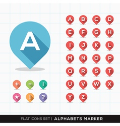 Set a-z alphabet pin marker flat icons map gps vector