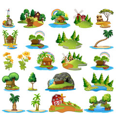 set different island scenes vector image