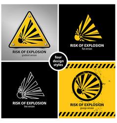 Set explosion hazard symbols vector
