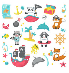 Set of cute pirate animals and marine items vector