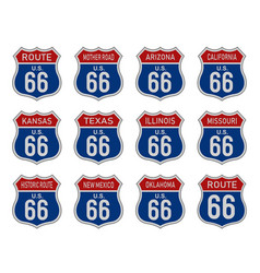 set of route 66 badge sign vector image
