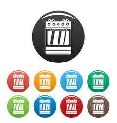 Small gas oven icons set color vector