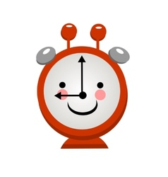 Smiling alarm clock on a light background vector image