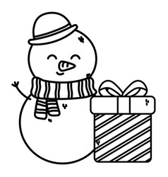snowman wearing hat scarf with gift box merry vector image