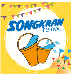 Songkran festival bucket of water flags sand pagod vector