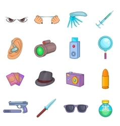 Spy and security icons set cartoon style vector image