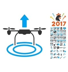 Start Drone Icon With 2017 Year Bonus Pictograms vector image