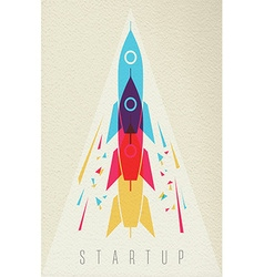 Startup business icon rocket ship color design vector