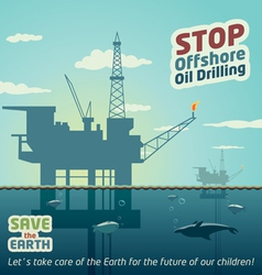 Stop offshore oil drilling vector