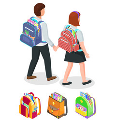 students holding hands boy and girl with bags vector image